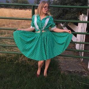 Saint Patrick's Day skirt. Shamrocks. Green.